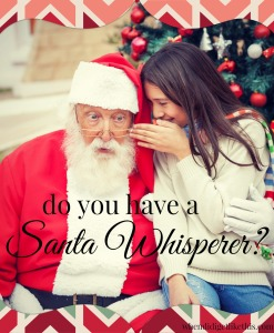 Girl whispering wish in Santa Claus's ear against Christmas tree
